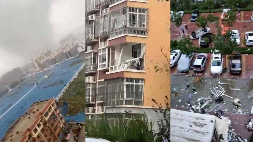 山东莘县现龙卷风 多辆汽车被掀翻