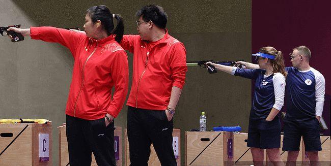 庞伟姜冉馨气手枪混合团体夺金