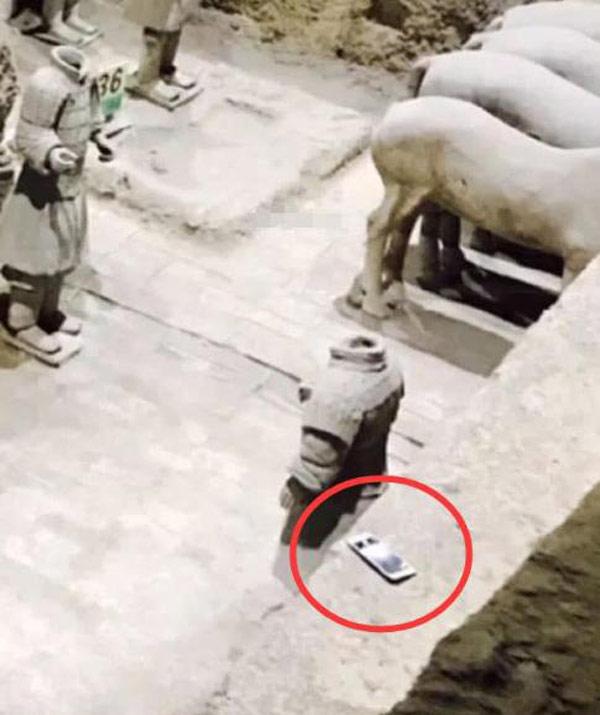 为什么手机掉进兵马俑不能捡